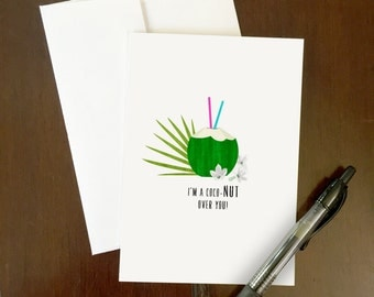 CocoNut Over You | Greeting Card | Coconut Juice Pun | Filipino-themed art | Philippines