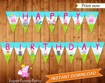 Peppa Pig Banner, INSTANT DOWNLOAD, Digital File