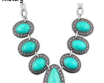 Green Turquoise Silver Necklace