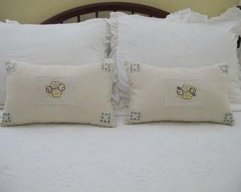 """Pair of Vintage Applique' Pillows 10"""" X 17"""""""