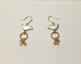 Silver spring birds swarovski crystals earrings