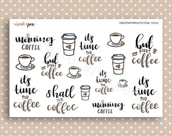 COFFEE Hand lettered & hand drawn planner stickers - General Collection - Kikki K Filofax Erin Condren G1616