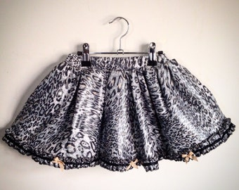 Platinum Leopard Pu Skirt