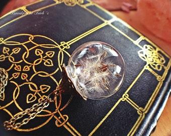True dandelions in glass ball silver