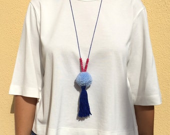 Blue & Pink Pompom Tassel Necklace