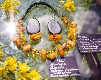 Necklace and Earrings The Baltic Sun made with love and amber