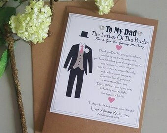 Father Of The Bride - Thank you for giving me away - Step Dad -  From Your Daughter the Bride - Personalised Card