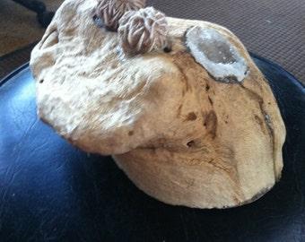 Wood Sculpture  Albino Frog