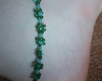 Green Daisy Chain Anklet