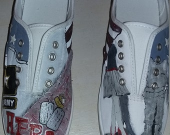 Military wife hand painted shoes