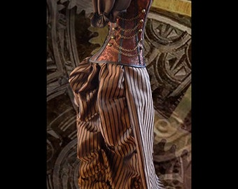 Ready to Ship Steampunk Brown Corset w/STRIPED BROWN Bustle Skirt Victorian Cosplay Costume Halloween Dress Goth
