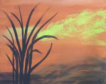 Orange Sunset Acrylic Painting 16X20
