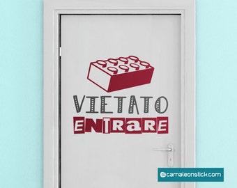 Forbidden Lego-wall stickers for children-Lego bedroom door sticker