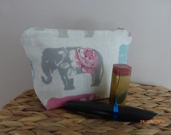 Handmade Cosmetic Make-up bag in Elephant Fabric