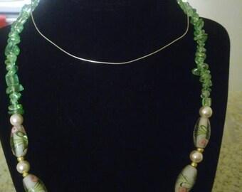 Transparent glass beaded necklace