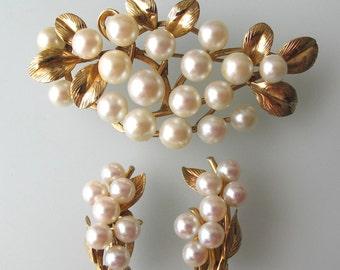Ming's of Honolulu Pearl Brooch & Earrings Set