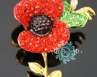 Sparkling Red Poppy Brooch in Gold tone, Pin