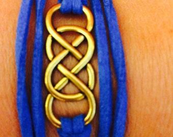 Double Infinity Wrap Bracelet blue