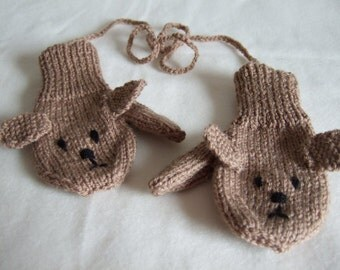 Hand knitted Baby Toddler Mittens Brown Dog Mittens Gloves with cord. To fit approx 12-24 months, 1-2 years old. Spring Winter Fall Mittens