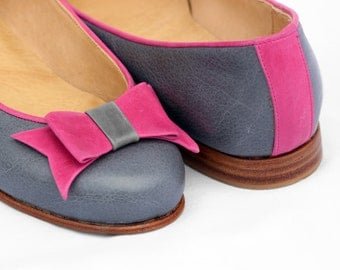 Handmade Leather Flats/ Model PORTOBELLAS/ Grey and Pink/ FREE Shipping