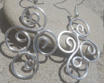 handmade silver plated wire earrings, silver jewelry, silver wire jewelry