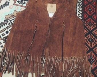 1970s vintage tan suede tassel waistcoat