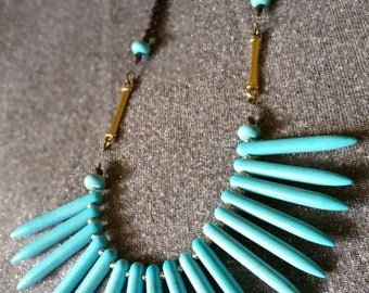 Turquoise spike bib necklace