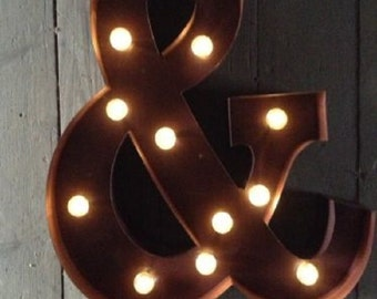 led carnival circus light up alphabet letter all metal large 33 cm wall or free standing