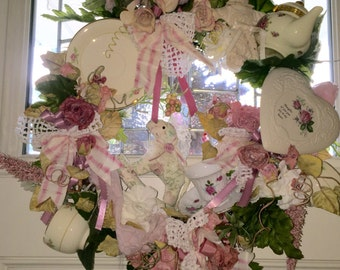 Up-cycled Shabby Chic,repurposed ,pink and white Tea cup wreath