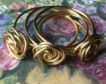 Gold Rose Wire Ring