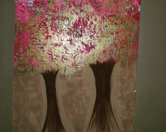 24x48 textured gold and pink tree