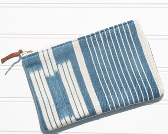 SALE Small Blue Ikat Mudcloth Pouch