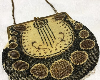 Vintage Beaded Art-Deco Handbag