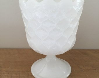 Scalloped Milk Glass Compote Bowl
