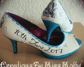 Alice in Wonderland Inspired Wedding Customised Shoes, Disney Shoes, Wedding Shoes, Prom Shoes