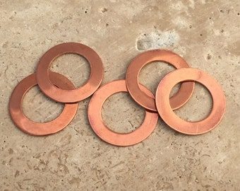 Copper Washer Blanks - 20-Guage Stamping Blanks - Jewelry Making Blanks - Tumbled Blanks - Deburred Copper Washer Blanks - Copper Shapes