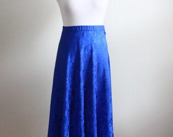 1980s Cobalt Blue Silk Midi Skirt // Vintage Jacquard Silk Skirt