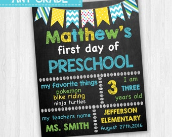 Preschool Signs, Grade School Signs, 1st Day Of Preschool, First Day Of School Signs, Back To School, Chalkboard Signs, Printable Signs