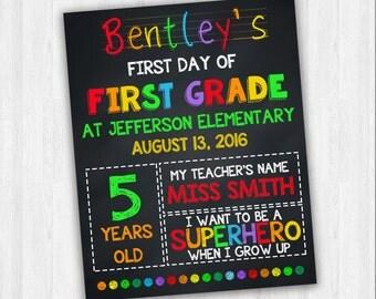 First Grade School Signs | Printable School Signs, Back To School, 1st Day Of School, School Signs, First Day Of First Grade