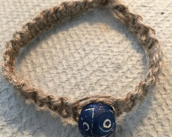Hemp bracelet with a wooden bead.