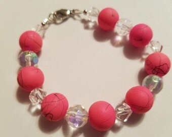 Dark Pink & Clear Beaded Bracelet