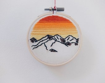 3'' Mountains and Sunset Embroidery Hoop Art