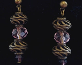 Pink Crystal and Bronze Earrings
