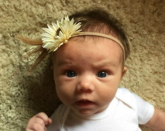 Flower Baby Headband Sunflower Feather