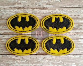 Bat Symbol Feltie Set of 4 - Felties - Felt Embellishments - Embroidered Felt Appliques