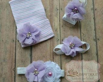 Newborn girl hat - barefoot sandals - newborn headband - newborn girl hat - baby girl hat - baby girl gift set - baby shower gift set