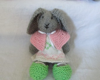 Pure wool bunny rabbit with dress, capelet, and shoes, hand knit