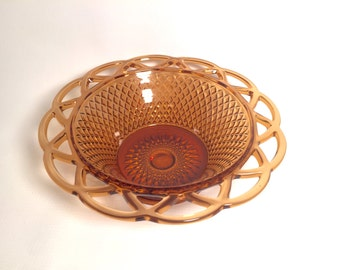 Amber brown decorative glass bowl