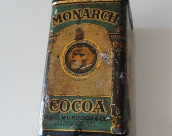 Monarch Cocoa Tin - vintage cocoa container box 1920's by Reid Murdoch & Co - collectible advertising tin box