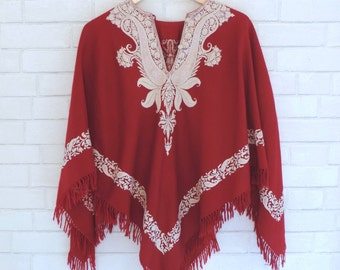 Vintage Embroidered Deep Red Poncho